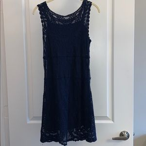 NWOT Express XS Blue Lace Dress with Lining